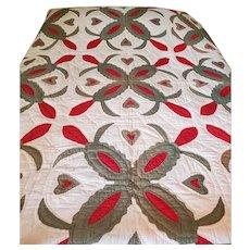 Unique Antique Folk Art White, Green & Red, Leaves & Hearts Quilt