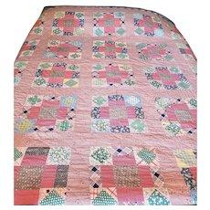 Near Mint Vintage Depression Era Modified 9-Patch Quilt