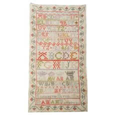 19th C. Folk Art Unframed Sampler By 12 Year Old Elisabeth Blyth