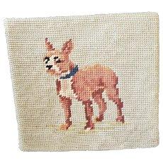 Vintage Folk Art Needlepoint Dog Doorstop #1 (Boxer)