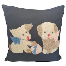 Adorable Vintage Puppies w/Ball Hooked Pillow