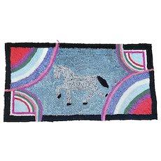 Near Mint Vintage Folk Art Dapple Horse Hooked Rug w/Rainbow Accents