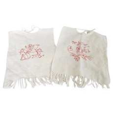 Pair Early 1900's Redwork Bibs inc. Old Woman in the Shoe From My Collection