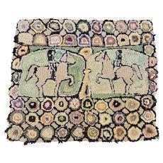 vintage Naive Folk Art Hooked Rug Depicting 2 Men on Horseback