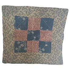 Antique 19th C. PA. Primitive Doll Quilt in Great Early Fabrics #2