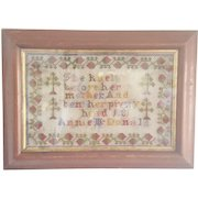 Antique Dated 1881 Wool Sampler by Annie McDonald From Connecticut Estate