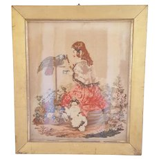 19th C.Framed  Victorian Berlin Work Depicting Girl in Garden With Parrot & Dog