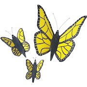 Set of 3 Vintage Folk Art Wall Decor Yellow & Black Butterflies