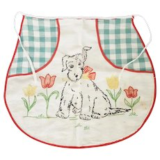 Vintage 1930's-40's Child's Apron With Embroidered Puppy & Tulips