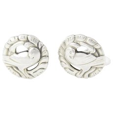 Vintage Georg Jensen Denmark Sterling Silver Dove Cufflinks