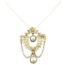 Vintage 14k Gold Cultured Pearl Festoon Pendant Brooch Necklace