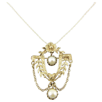 Vintage 14k Gold Cultured Pearl Festoon Pendant Brooch Necklace