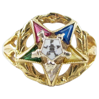 Vintage 10k Yellow Gold Eastern Star Masonic Ring