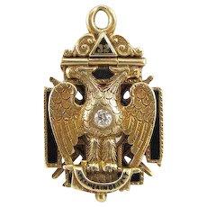Vintage 14K Yellow Gold Masonic Fob Tri-Fold Enamel Diamond Ruby Pendant Dated 1917