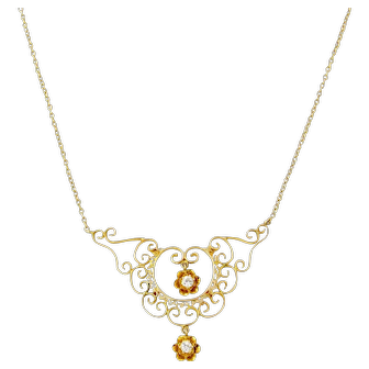 Victorian Revival 14k Yellow Gold Diamond Filigree Necklace