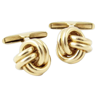 Vintage 14k Gold Knot Cufflinks Signed Fisher & Company