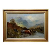 Stanley Graham -Highland Cattle in a Scottish Landscape-19th century Oil painting