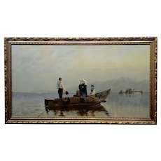 Nuns River Crossing on Boat - 19th century Oil painting