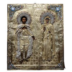 19th century Russian Icon with Silver & Enamel accents