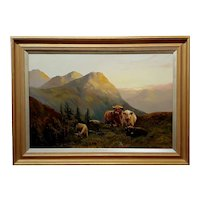 Stanley Graham - Cattle in a Scottish Landscape-19th century Oil painting