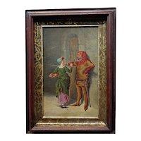 Renaissance Mistress bringing food - 18th century Oil painting