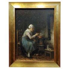 J.J. Matthijs Damschroeder -Woman Cooking-19th century Dutch oil painting