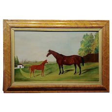 Race Horse and Her Baby -19th century English School -Oil painting