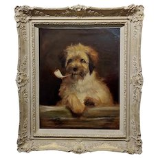 Portrait of a Dog Smoking a Pipe-Beautiful 19th century English School-Oil painting