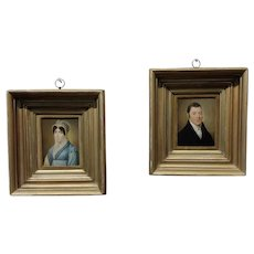 Portraits of Husband & Wife -18th century English school-Oil painting -A pair