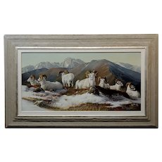 Gary Swanson -Big Horn Mountain Sheep Resting - Oil painting