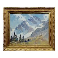 George Browne - Beautiful Snow Capped Sierras -Expressionist -Oil painting