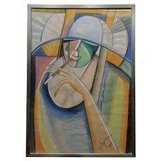 Hugo Scheiber -Portrait of a Stylish Woman - Cubist Painting-c1930s