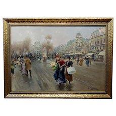 La belle Epoque Paris Street Scene - Oil painting - c.1900s