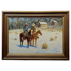 Martin Weekly - Cowboys on Horse - Oil painting