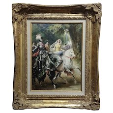 Salmon G. -Knight in Armor and Princes on Horse -19th century Oil painting