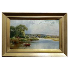 T. Atkinson - Romantic boat ride on the Lake - 19th century oil painting