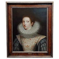 Portrait of an Aristocratic Woman w/a Ruff Collar-16th/17th century Oil painting