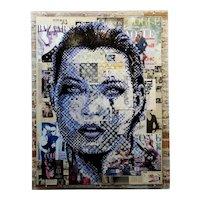 Portrait of Kate Moss -Graffiti Magazine Collage-Pop Art Painting