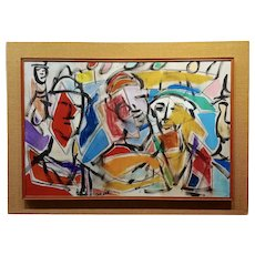 Pascal Cucaro -Faces in a Landscape -1960s Abstract Oil painting