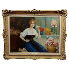 Luis Doret - The Beautiful Flower Girl -19th century Oil painting