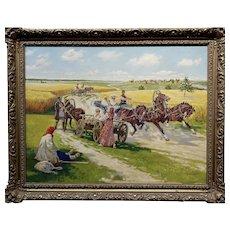 Konstantin Konstantinovich Kuznetsov - Russian Riders Scene- Oil painting