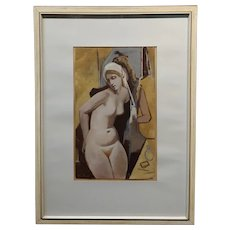 Otto Fuchs -Nude Female changing room -Art Nouveau Painting- c1890s
