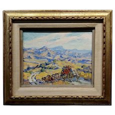 Marjorie Reed -Stage Coach crossing the old West - Oil painting