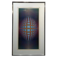 Victor Vasarely - Rolling Ball optical illusion-Pencil Signed color screen print