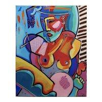 Amanda Watts - Cubist Seated Nude Female - Oil painting