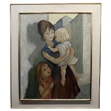 Pierre Le Faguays- French Mother with her two kids - Oil painting