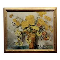 Thorwald Albert Probst -Beautiful Flowers of Fall Still Life-Oil panting c1910s