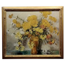 Thorwald Albert Probst -Beautiful Flowers of Fall Still Life-Oil panting c1910s