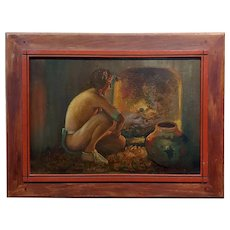 Taos Pueblo Indian by the Fireplace - Native American Oil painting