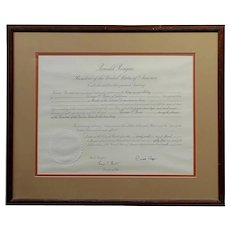 Ronald Reagan Signed Presidential appointment to Thomas Paine for Space Commission